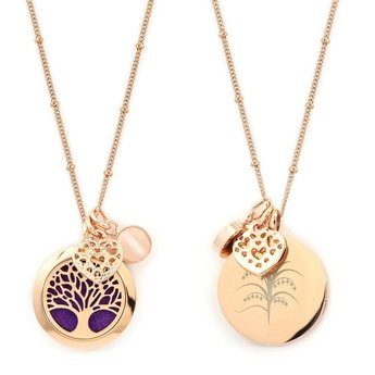 AromaLove Tree of Life aromadiffuser locket necklace (rose gold) with reusable pads