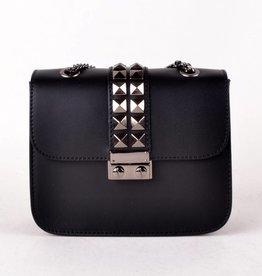 Studded Leather Crossbody Bag - Black