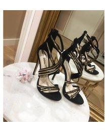 Gold & black sandals