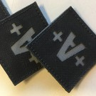 Apatch Blood type patch grey black A+
