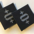 Apatch Blood type patch grey black O+
