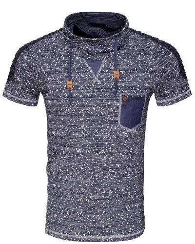 WAM Denim navy t-shirt with shawl collar