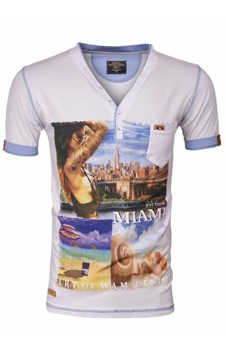 WAM DENIM Wam Denim t-shirt white with Miami print