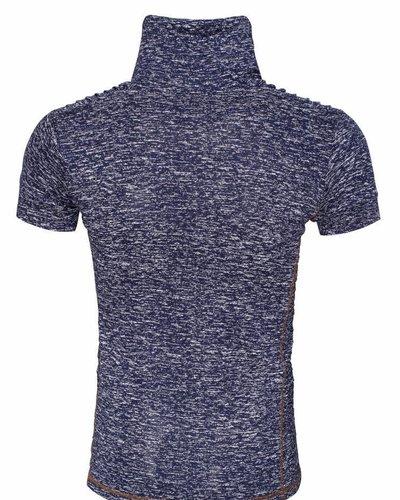WAM Denim navy t-shirt with shawl collar