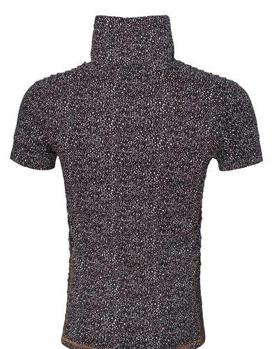 WAM Denim black white t-shirt with shawl collar