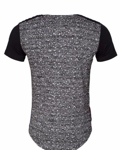 WAM Denim black long fit t-shirt with chest pocket