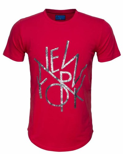 WAM Denim red long fit t-shirt with new york print