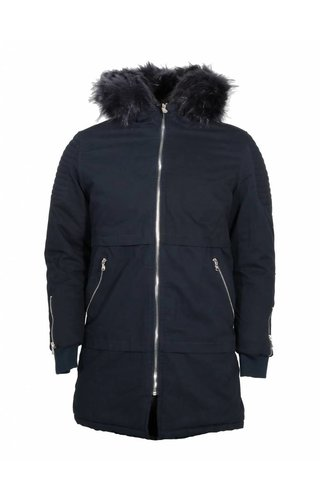 Wam Denim winterjacket blue black parka