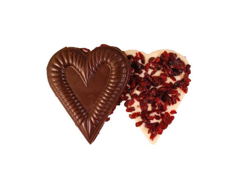 CHOCOLADE HARTJE MET CRANBERRIES