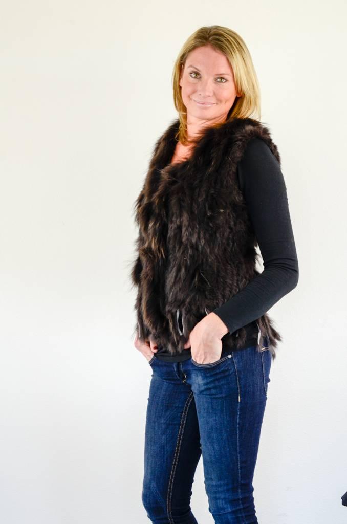 Donkerbruin fluffy vestje