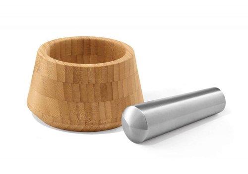 ZACK OPESO mørtel med pistle (mat rustfrit / bambus)