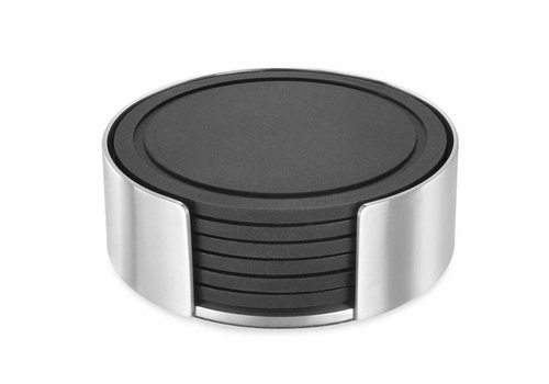 ZACK VETRO glass coaster set / 6 with holder (mat)