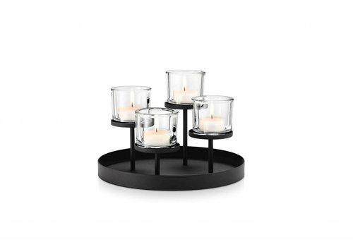 BLOMUS NERO theelichthouder rond (4 kaarsen)