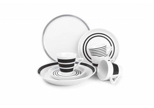 S&P STRIPES 20-piece dinnerware (black)