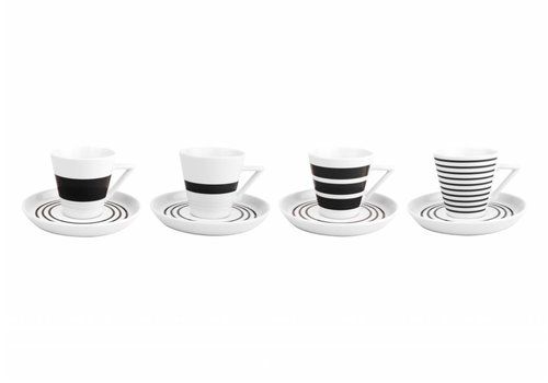S&P STRIPES cup and saucer 190 ml (black) set / 4