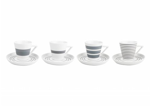 S&P STRIPES cup and saucer 190 ml (gray) set / 4