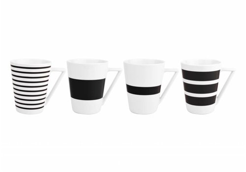 S&P STRIPES cup 360 ml (black) set / 4