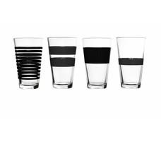 S&P STRIPES longdrinkglas 325 ml (zwart) set/4