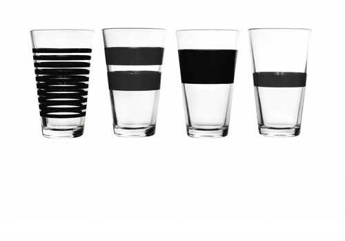 S&P STRIPES longdrinkglas 325 ml (zwart) set/4