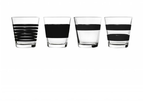 S&P STRIPES drinkglas 265 ml (zwart) set/4