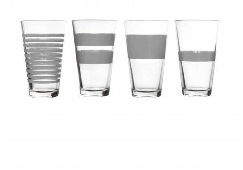 S&P STRIPES long drink glass 325 ml (gray) set / 4