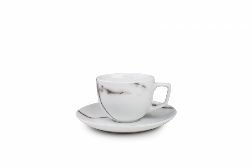Marble Coffee Cup And Saucer 0 22l Set 4 Sp42245