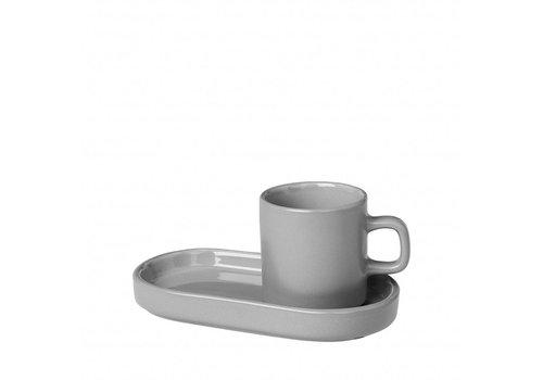 BLOMUS MIO espressokop 50 ml med skål Mirage Grå (sæt / 2)