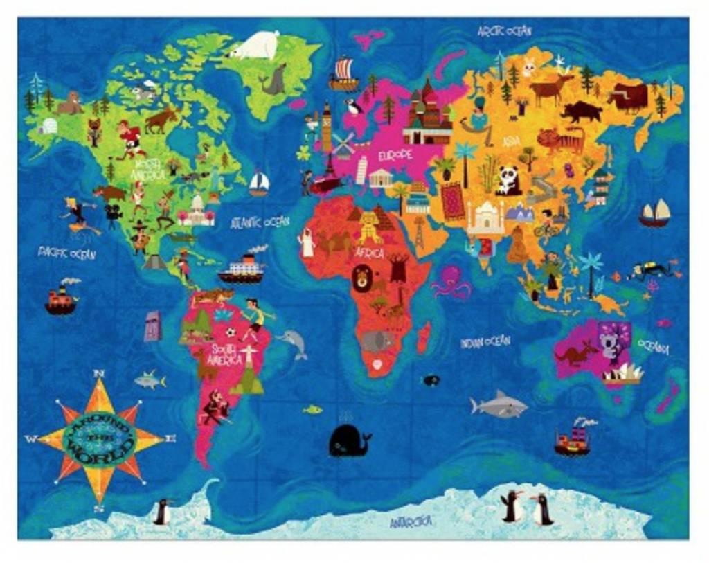 Mudpuppy de wereld rond legpuzzel van 63 stukjes puzzels123 - Doos huis wereld ...