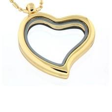 Floating memory lockets Gouden memory locket gebogen hart large inclusief ketting