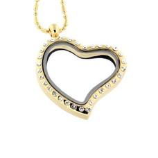 Floating locket Gouden  memory locket hart gebogen strass met ketting