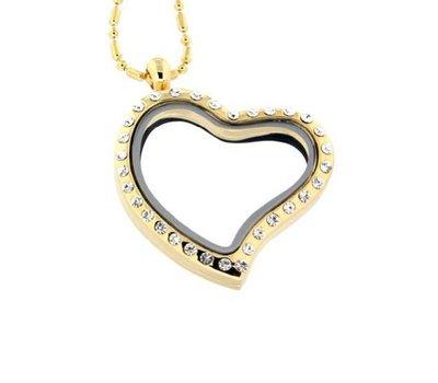 Floating memory lockets Gouden memory locket hart met strass large inclusief ketting
