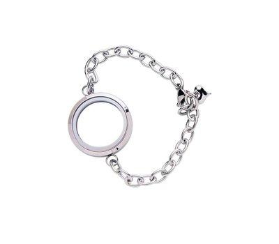 Floating locket Zilveren memory locket armband rond large