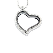 Floating locket Zilveren memory locket hart gebogen strass met ketting