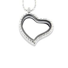 Floating memory lockets Zilveren memory locket gebogen hart met strass large inclusief ketting