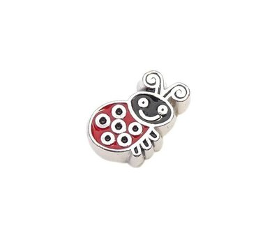 Floating Charms Floating locket charm rood lieveheersbeestje zilver