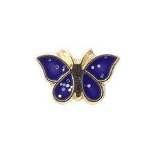 Floating Charms. Floating charm goud vlinder blauw