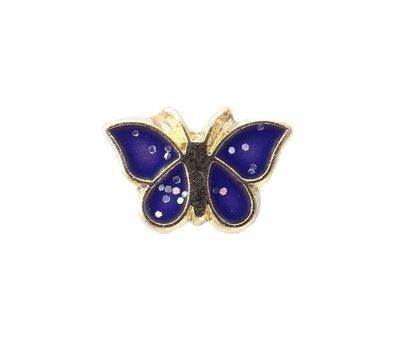 Floating Charms Floating locket charm goud vlinder blauw