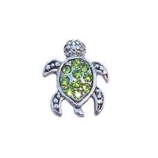 Floating Charms Floating locket charm zee schildpad met groene steentjes