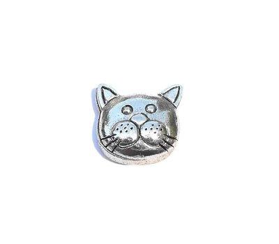 Floating Charms Floating locket charm schattig kat gezichtje zilver