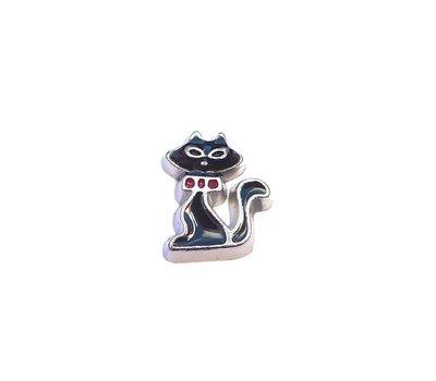 Floating Charms Floating locket charm schattige zwarte kat