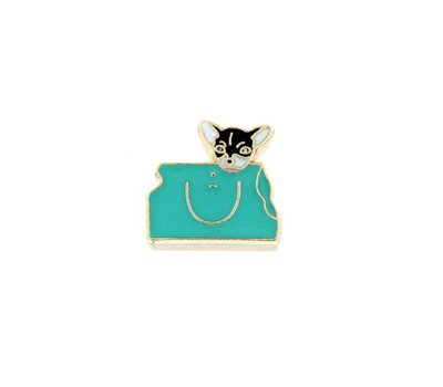Floating Charms Floating locket charm chihuahua hond in tas goud