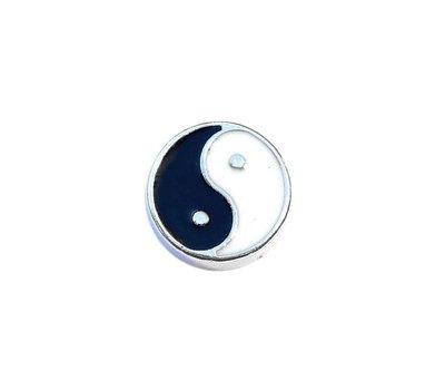 Floating Charms Floating locket charm yin yang zilver