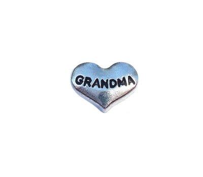 Floating Charms Floating charm grandma hartje zilver voor de memory locket