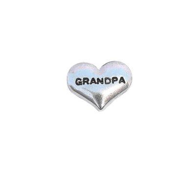 Floating Charms Floating charm grandpa hartje zilver voor de memory locket