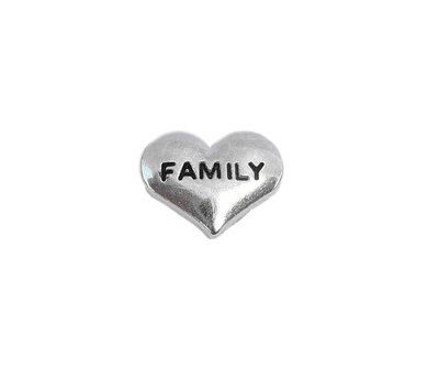 Floating Charms Floating locket charm family hartje zilver