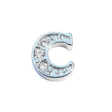 Floating Charms Floating locket charm letter C met crystals zilver