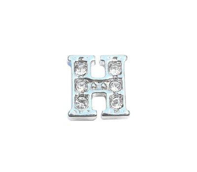 Floating Charms Floating locket charm letter H met crystals zilver