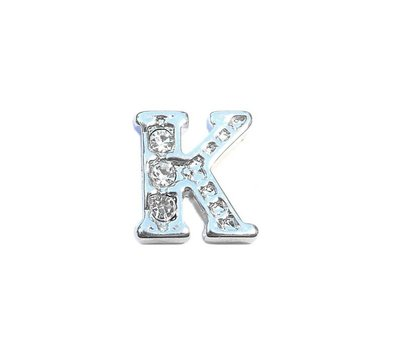 Floating Charms Floating charm letter k met crystals zilver voor de memory locket