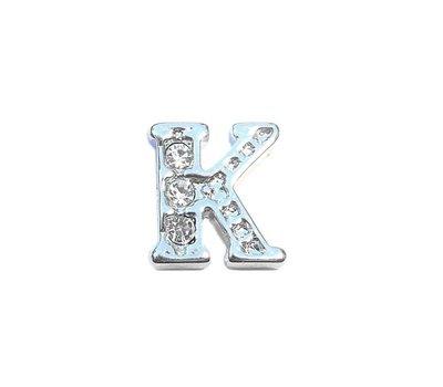 Floating Charms Floating locket charm letter K met crystals zilver