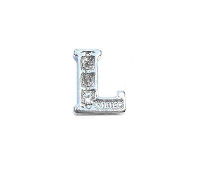 Floating Charms Floating charm letter l met crystals zilver voor de memory locket